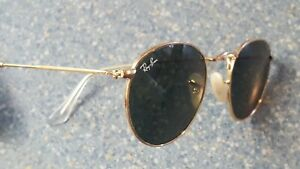 Ray Ban Gold Round Metal Wire Rim Sunglasses Made in Italy RB 3447 Glass