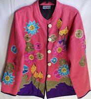 Indigo Moon Women's Blazer Pink Floral Embroidered Size 13
