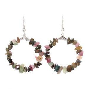 Natural Healing Crystal Reiki Gemstone Round Dangle Hook Women Stone Earring