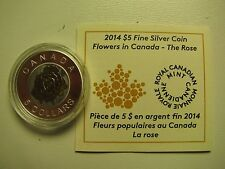 2014 Proof $5 Flowers #2-Rose Canada .9999 silver niobium COIN&COA ONLY five dol