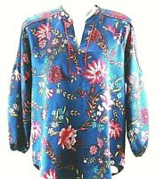 ANN TAYLOR LOFT Size Xtra Small Petite Long Sleeve Floral Blouse  Top