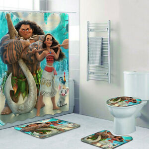 Moana Maui Shower Curtain 3D Floor Mat Anti-Slip Foot Pad Toilet Lid Cover 4PCS