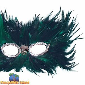 PEACOCK MASQUERADE FEATHER EYE MASK - womens ladies fancy dress accessory