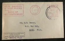 1955 Suva Fiji Meter Cancel New South Wales Bank Cover Domestic Used