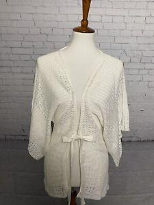 ECHO Women's Size SOFT IVORY TIE FRONT SWEATER cardigan S/M NWT