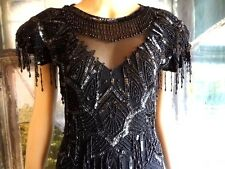 Vintage 20s Style Art Deco Black Gatsby Flapper Silk Beaded Dress