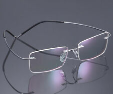 Pure Titanium Rimless Silver Eyeglass Frames lightweight myopia unisex Glasses