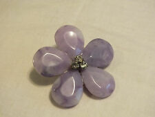 Lovely Brooch Pin Silver Tone Marbled Lavander Plastic Flower Clear Rhinestones
