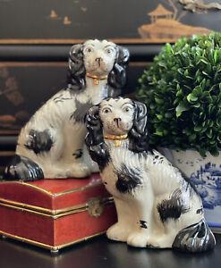 Stately English Staffordshire Style Black Spaniel Fox Hunt Hound Mantle Dog Pair