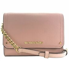 NWT MICHAEL KORS Hayes Small Leather Clutch Crossbody Bag, Pink