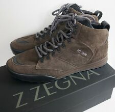 NIB Authentic Z ZEGNA MT1500 Brown Suede HIGH-TOP HIKING Boots Trainers US-10.5