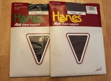 c6e0a772a 2 PR Vintage 80s Hanes ALIVE Sheer Support Pantyhose Black South Pacific Sz  F