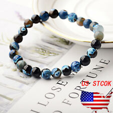 Blue Natural Stone 8mm Beaded Reiki Yoga Healing Mens Bracelets Fashion Jewelry