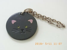 Auth HERMES  Key Chain Leather Charm Cat Motif Gray Silver  - m285