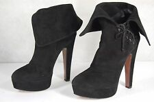 SUPER GORGEOUS !!!  ALAIA HIGH HEEL SUEDE FOLD OVER ANKLE BOOTS EU 40 US 10