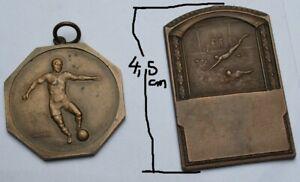 2 alte Metall Medaillen Abzeichen - Fußball St.Hubert 1956 - Schwimmen