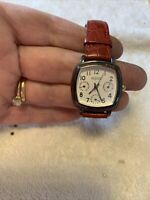 ECCLISSI WOMEN'S Sterling Silver Watch Red Leather Band 22130 Needs Battery