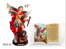 """San Miguel Arcangel 12"""" & Oracion Para Mesa o Pared San Miguel 6""""x4"""", NEW"""