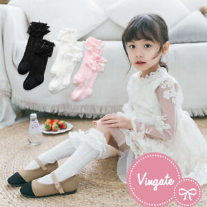 Baby Girls Toddler Vintage Knee High Socks with Frilly Lace School Party 9m-8y