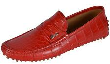 NEW Gucci Men's 377755 Red Alligator Crocodile Drivers Loafers Shoes 11.5 G