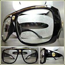 Men VINTAGE HIP HOP RAPPER Style Clear Lens EYE GLASSES Black Gold Fashion Frame
