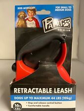 Paws Premium Retractable Leash- Red, 16 Ft. Maxiumum 44 lbs. New in packaging.