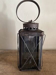 Early Antique Tin Hanging Candle Barn Lantern Patina Lightning Glass Panels AAFA