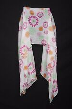 White Magenta Green & Tangerine Abstract Flower Print Sheer Girly Scarf (S197)