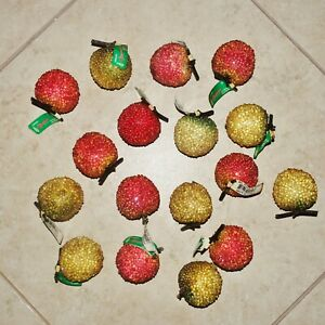 VINTAGE 17-Piece Beaded Sugared Frosted Artificial Faux Fake Fruit Apple w/ Stem