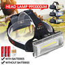 990000LM COB LED USB Rechargeable 18650 Headlamp Headlight Flashlight Zoomable