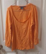 Ralph Lauren Sport Womens Long Sleeve Orange Shirt XLarge Scoop Neck