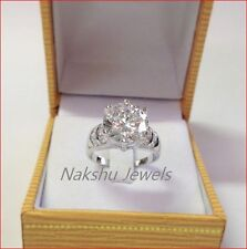3.50Ct White Moissanite Round Six-Prong Engagement Ring 925 Sterling Silver