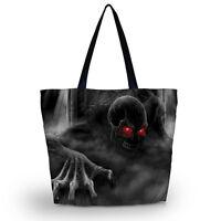 Red Eye Skull Soft Foldable Tote Women's Shopping Bag Shoulder Bag Lady Handbag