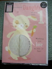 M&S 1st Birthday card Daughter 3D honeycomb Rabbit Age 1 Girl Marks & Spencer