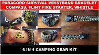 PARACORD SURVIVAL WRISTBAND BRACELET COMPASS, FLINT FIRE STARTER, WHISTLE