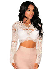 White Sheer Lace Long Sleeves Crop Top Summer Wear Club & Evening wear Size L