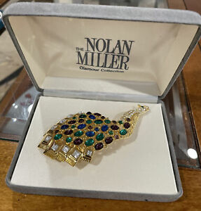 """NOLAN MILLER GLAMOUR COLLECTION 4"""" MULTI-COLORED STONES PEACOCK BROOCH PIN NEW!"""