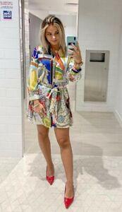 Zara Multicoloured Print Mini Shirt Dress Size XS BNWT