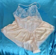 Vintage silky Nylon & Lace glossy 1960's french knickers teddy uk 10-12