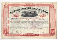 Stk The Flint & Pere Marquette Railroad Co. 1888 Mich. Orange s/p Wm. W. Crapo