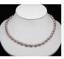 new 7-8MM natural pink purple Cultured Akoya Pearl Necklace 18'' AAA