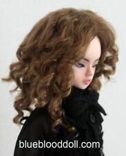 "1/4 bjd 7-8"" doll head brown color curly wig MSD Luts iplehouse minifee W-182M"
