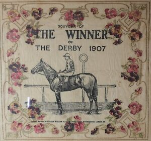 Antique Epsom Derby Souvenir, ORBY Winner of the Derby 1907, hand colored