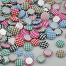 100x Round scot gingham fabric covered button flat back as hair Accessories CT15