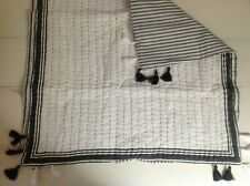 NEW Pottery Barn Nellie Pick-Stitch Tassel Euro Shams PAIR of 2~Charcoal Gray