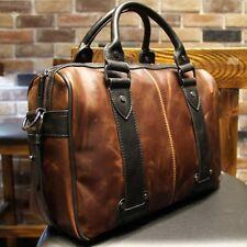 Men Leather Messenger Briefcase Laptop Shoulder Bag School Bookbag Handbag Brown
