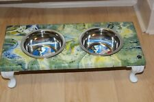 Raised Dog-Cat Feeding Table with 1pt Bowls - GREEN, YELLOW & BLUE ~ Rectangle