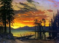 Albert Bierstadt Sunset over the River Fine Art Print on Canvas Poster Small