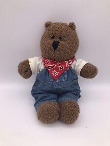 "Baby Gap Classic Overalls Brown Bear Plush Stuffed Animal Bandana Teddy 12"""