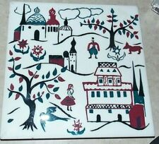 New listing Vintage Wheeling Cushion Russian Folk Art Tile Hand Painted Collectible